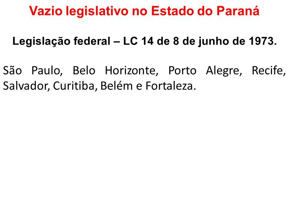 Vazio legislativo no Estado do Paraná Legislação federal – LC 14 de 8 de junho de 1973. São Paulo, Belo Horizonte, Porto Alegre, Recife, Salvador, Cur