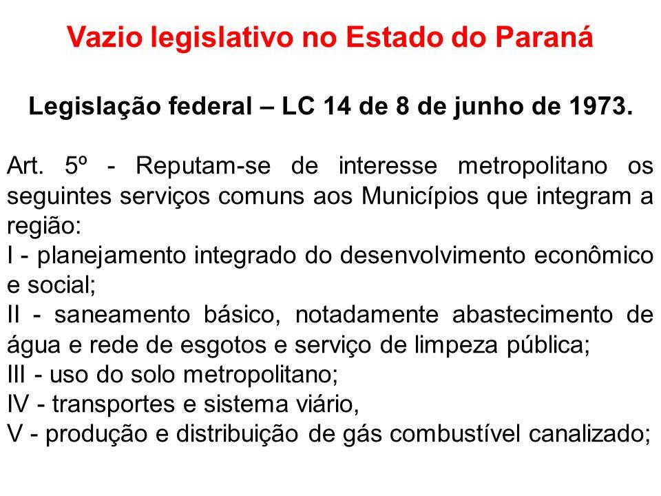 Vazio legislativo no Estado do Paraná Legislação federal – LC 14 de 8 de junho de 1973. Art. 5º - Reputam-se de interesse metropolitano os seguintes s