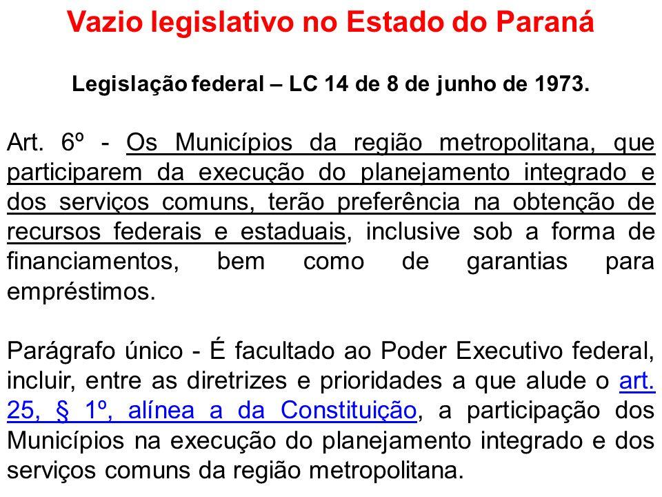Vazio legislativo no Estado do Paraná Legislação federal – LC 14 de 8 de junho de 1973. Art. 6º - Os Municípios da região metropolitana, que participa