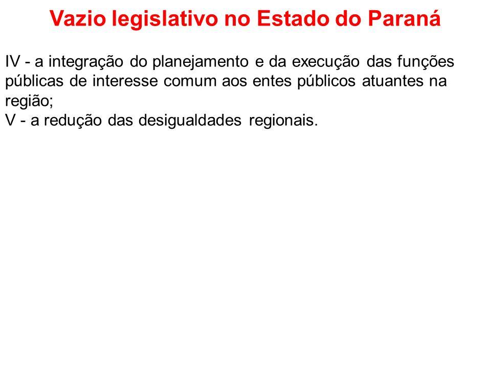 Vazio legislativo no Estado do Paraná IV - a integração do planejamento e da execução das funções públicas de interesse comum aos entes públicos atuan