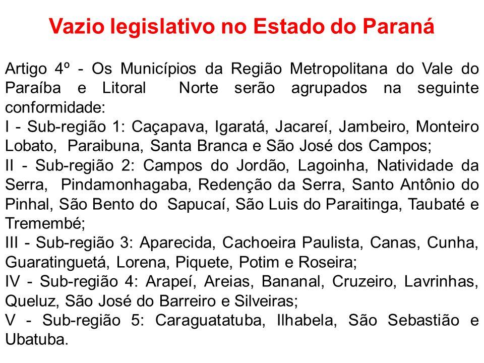 Vazio legislativo no Estado do Paraná Artigo 4º - Os Municípios da Região Metropolitana do Vale do Paraíba e Litoral Norte serão agrupados na seguinte
