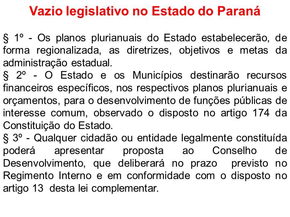 Vazio legislativo no Estado do Paraná § 1º - Os planos plurianuais do Estado estabelecerão, de forma regionalizada, as diretrizes, objetivos e metas d