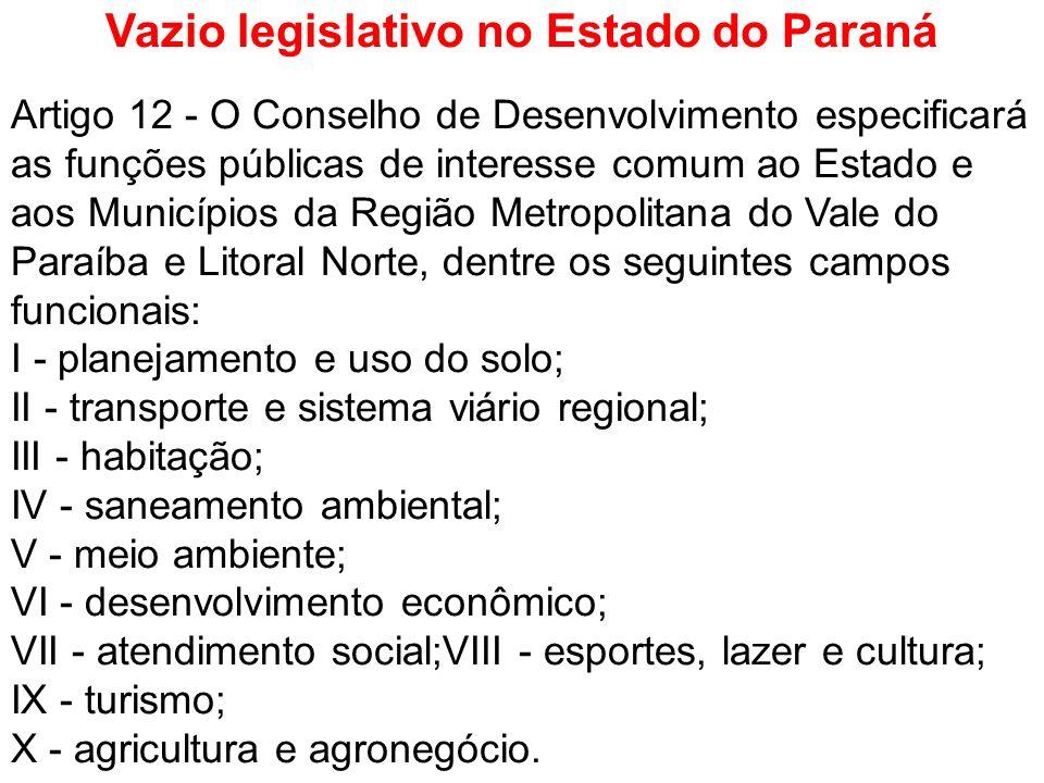Vazio legislativo no Estado do Paraná Artigo 12 - O Conselho de Desenvolvimento especificará as funções públicas de interesse comum ao Estado e aos Mu
