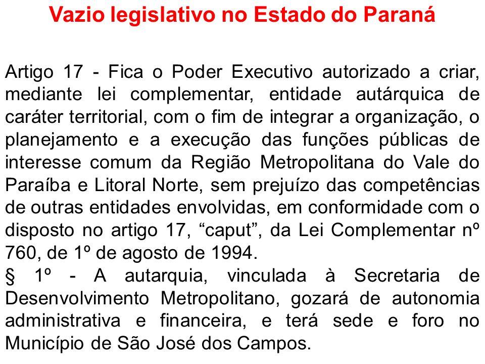 Vazio legislativo no Estado do Paraná Artigo 17 - Fica o Poder Executivo autorizado a criar, mediante lei complementar, entidade autárquica de caráter