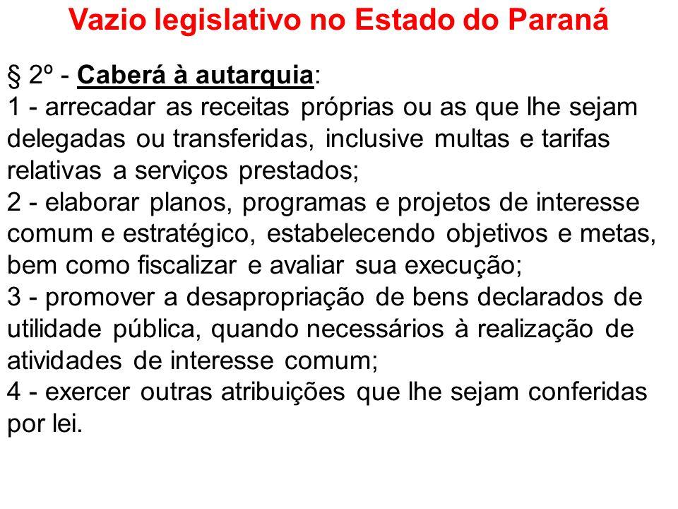 Vazio legislativo no Estado do Paraná § 2º - Caberá à autarquia: 1 - arrecadar as receitas próprias ou as que lhe sejam delegadas ou transferidas, inc