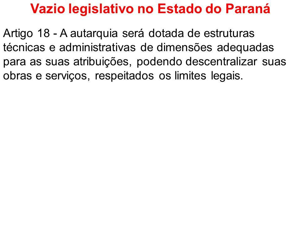 Vazio legislativo no Estado do Paraná Artigo 18 - A autarquia será dotada de estruturas técnicas e administrativas de dimensões adequadas para as suas