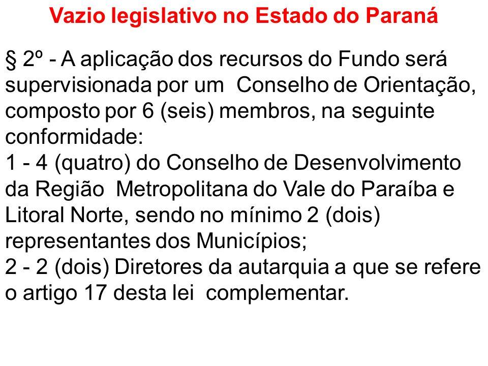 Vazio legislativo no Estado do Paraná § 2º - A aplicação dos recursos do Fundo será supervisionada por um Conselho de Orientação, composto por 6 (seis