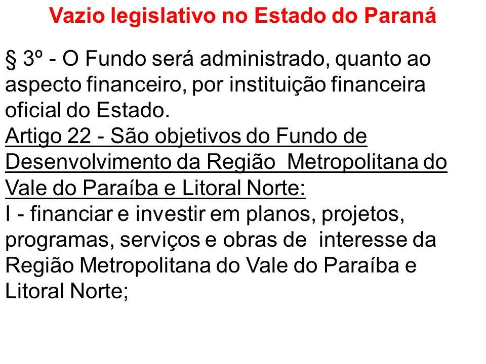 Vazio legislativo no Estado do Paraná § 3º - O Fundo será administrado, quanto ao aspecto financeiro, por instituição financeira oficial do Estado. Ar