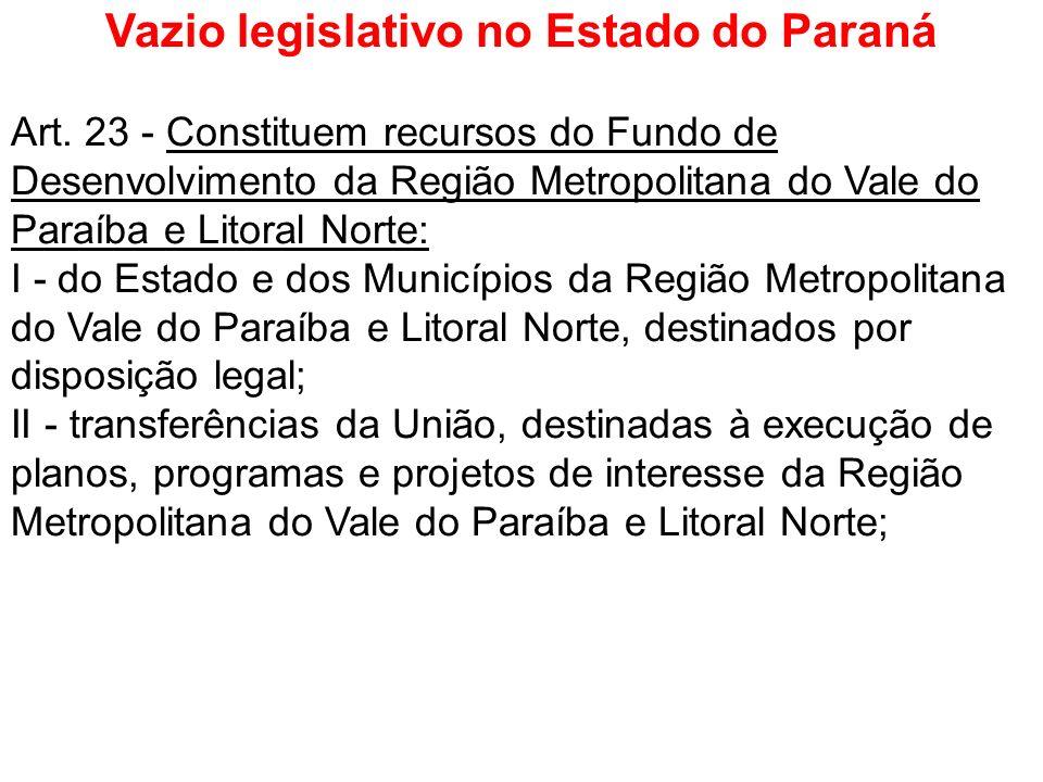Vazio legislativo no Estado do Paraná Art. 23 - Constituem recursos do Fundo de Desenvolvimento da Região Metropolitana do Vale do Paraíba e Litoral N