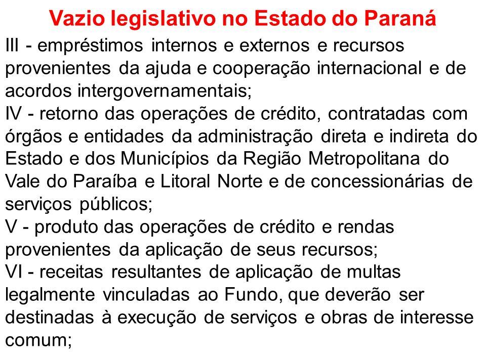 Vazio legislativo no Estado do Paraná III - empréstimos internos e externos e recursos provenientes da ajuda e cooperação internacional e de acordos i
