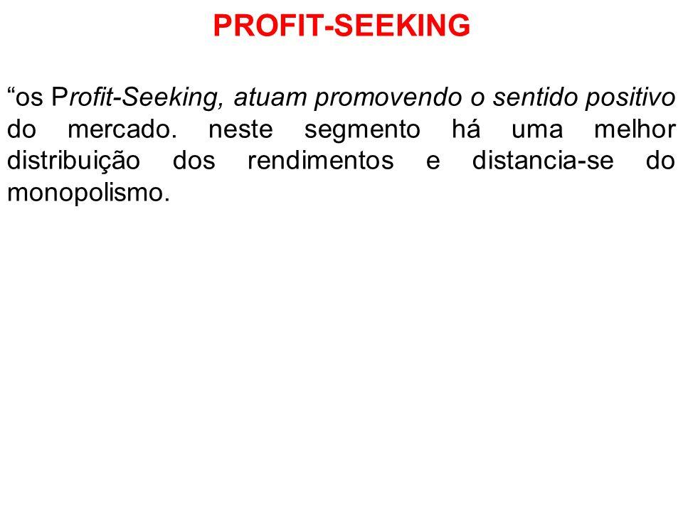 PROFIT-SEEKING os Profit-Seeking, atuam promovendo o sentido positivo do mercado. neste segmento há uma melhor distribuição dos rendimentos e distanci