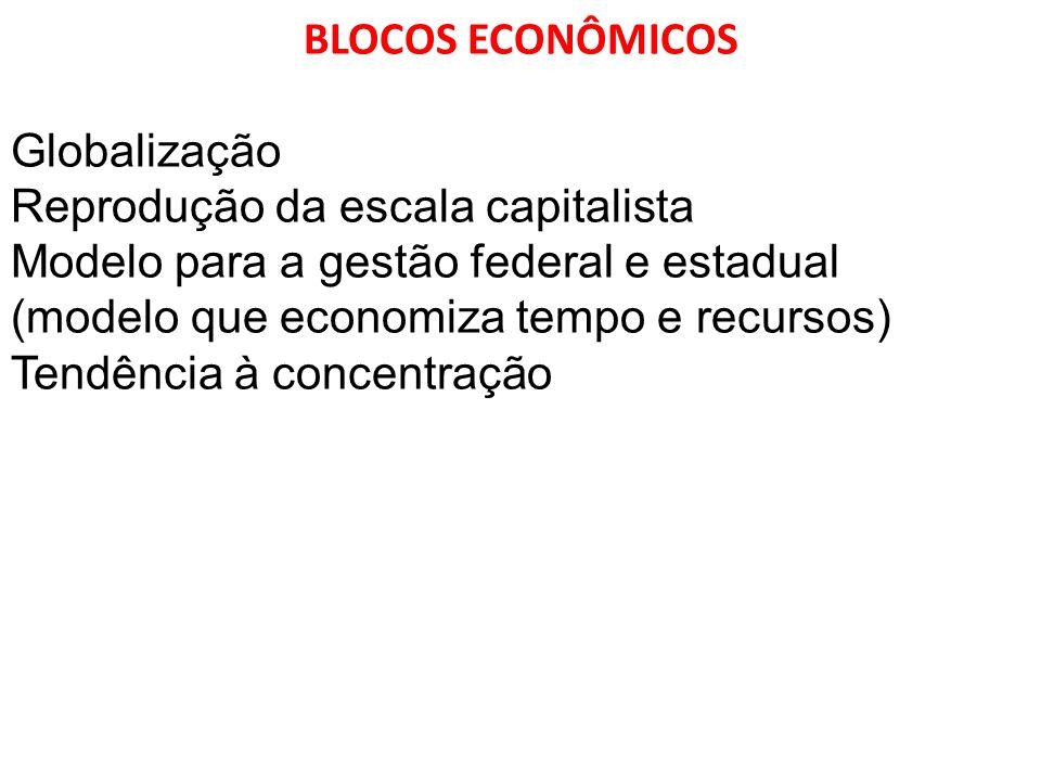 BLOCOS ECONÔMICOS Globalização Reprodução da escala capitalista Modelo para a gestão federal e estadual (modelo que economiza tempo e recursos) Tendên