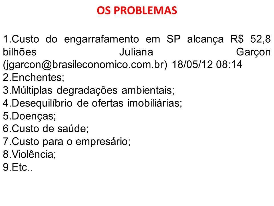 OS PROBLEMAS 1.Custo do engarrafamento em SP alcança R$ 52,8 bilhões Juliana Garçon (jgarcon@brasileconomico.com.br) 18/05/12 08:14 2.Enchentes; 3.Múl