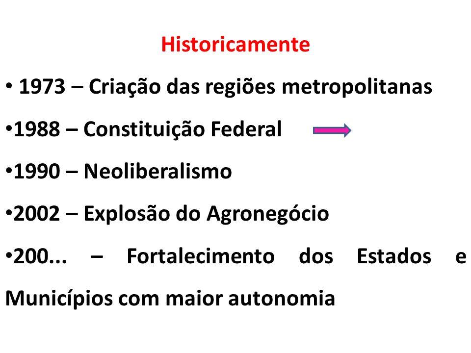 Historicamente 1973 – Criação das regiões metropolitanas 1988 – Constituição Federal 1990 – Neoliberalismo 2002 – Explosão do Agronegócio 200... – For