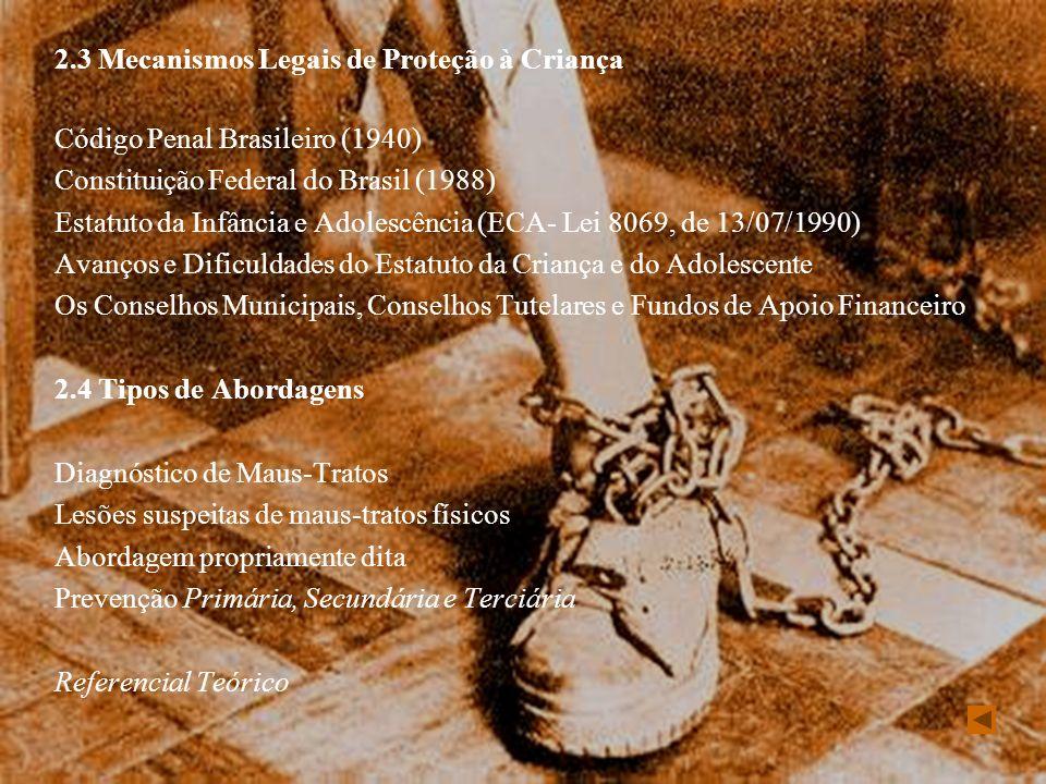 2.3 Mecanismos Legais de Proteção à Criança Código Penal Brasileiro (1940) Constituição Federal do Brasil (1988) Estatuto da Infância e Adolescência (