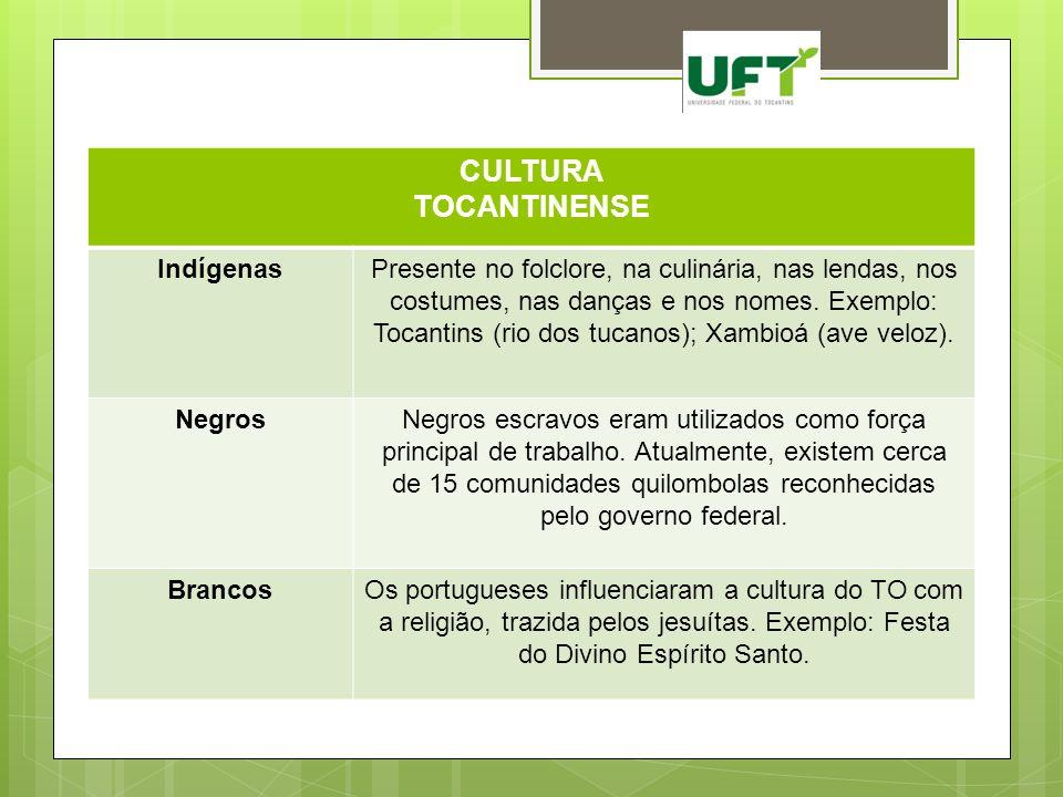 CULTURA TOCANTINENSE IndígenasPresente no folclore, na culinária, nas lendas, nos costumes, nas danças e nos nomes. Exemplo: Tocantins (rio dos tucano