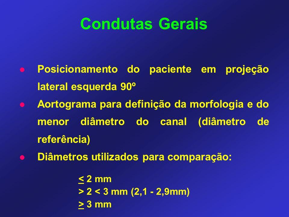 Posicionamento do paciente em projeção lateral esquerda 90º Aortograma para definição da morfologia e do menor diâmetro do canal (diâmetro de referência) Diâmetros utilizados para comparação: Condutas Gerais < 2 mm > 2 < 3 mm (2,1 - 2,9mm) > 3 mm