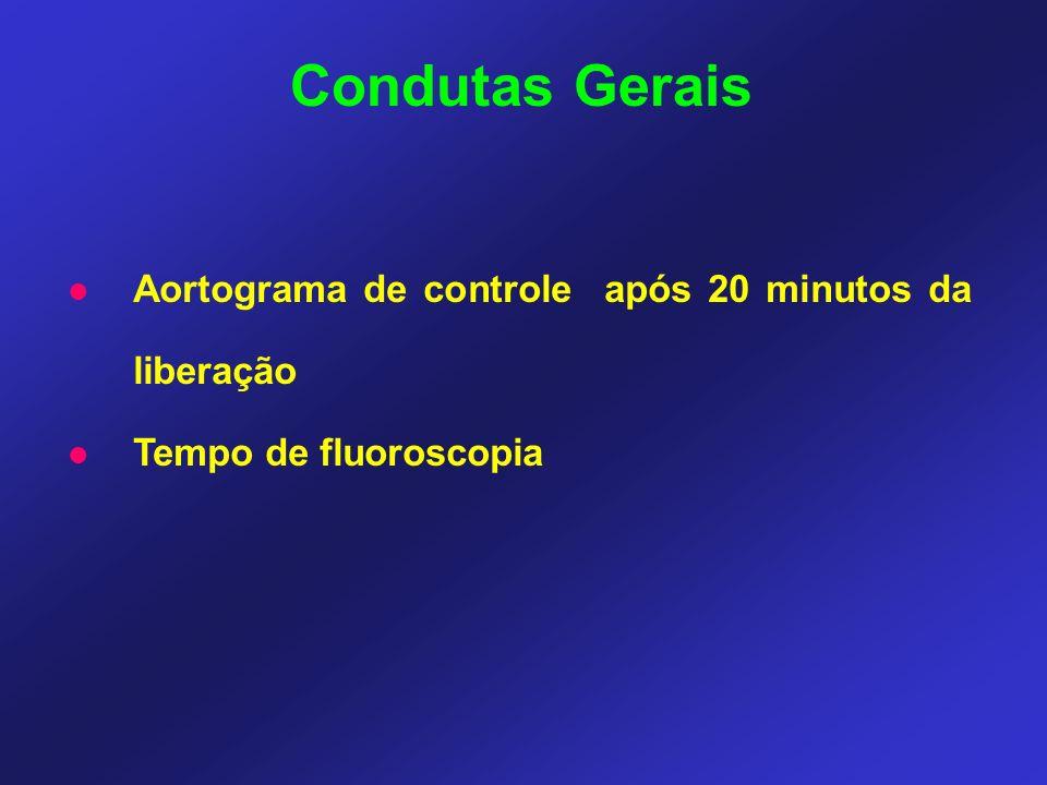 Aortograma de controle após 20 minutos da liberação Tempo de fluoroscopia Condutas Gerais