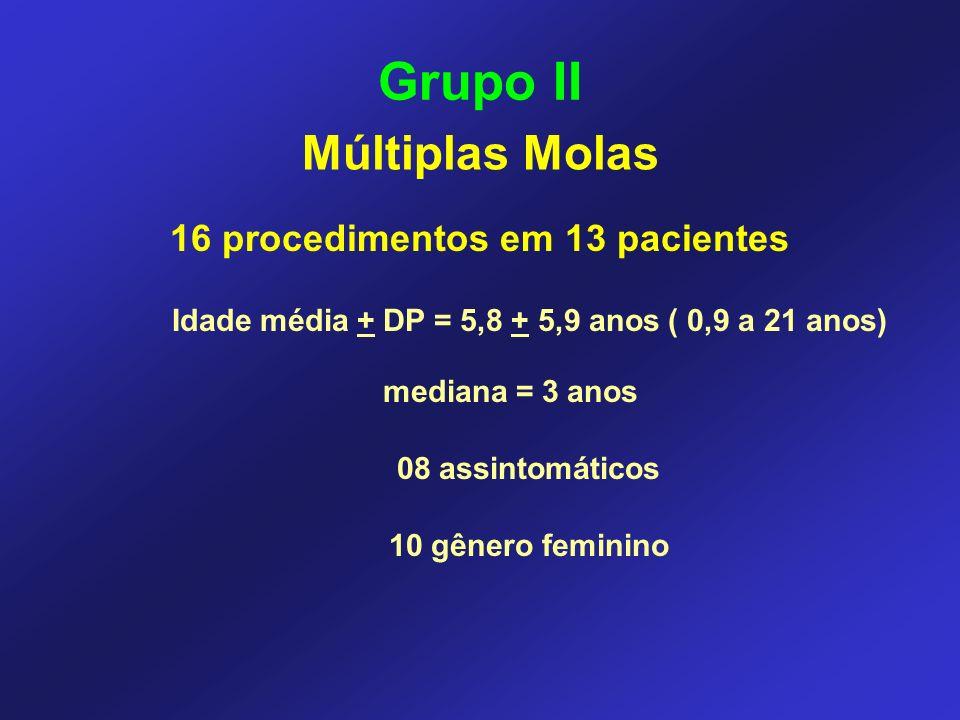Grupo II 16 procedimentos em 13 pacientes Idade média + DP = 5,8 + 5,9 anos ( 0,9 a 21 anos) mediana = 3 anos 08 assintomáticos 10 gênero feminino Múl