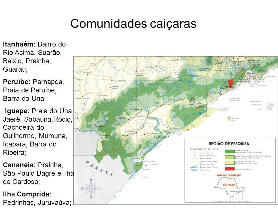 Itanhaém: Bairro do Rio Acima, Suarão, Baixio, Prainha, Guaraú; Peruíbe: Parnapoa, Praia de Peruíbe, Barra do Una; Iguape: Praia do Una, Jaerê, Sabaún