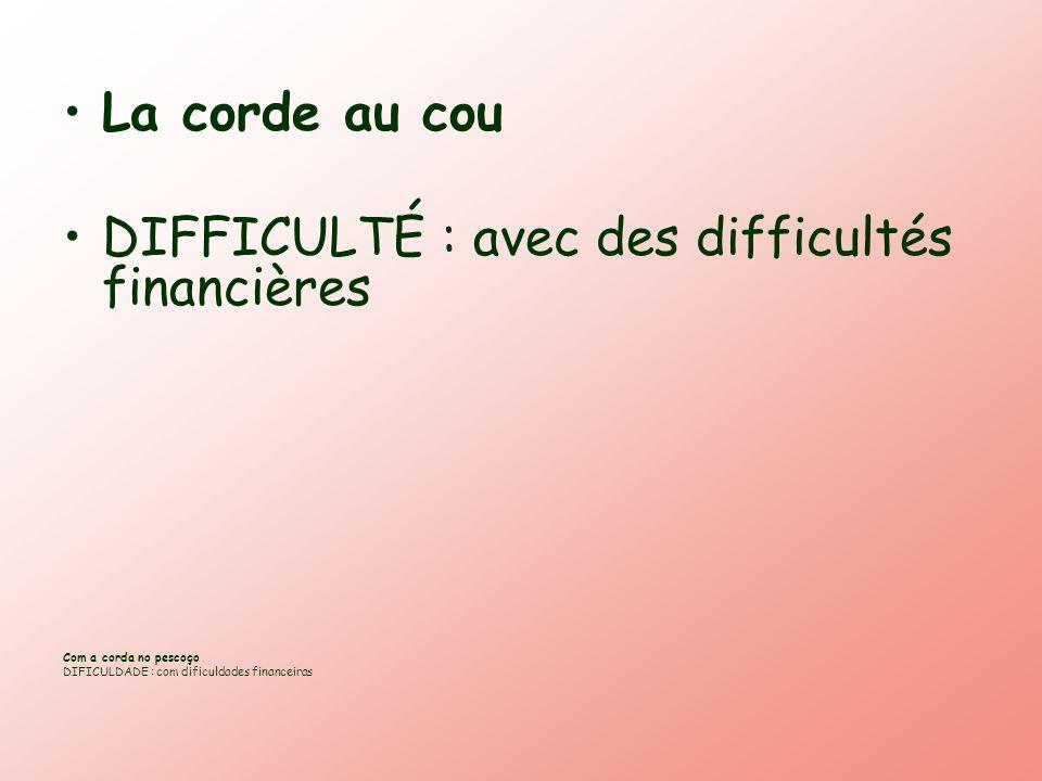La corde au cou DIFFICULTÉ : avec des difficultés financières Com a corda no pescoço DIFICULDADE : com dificuldades financeiras