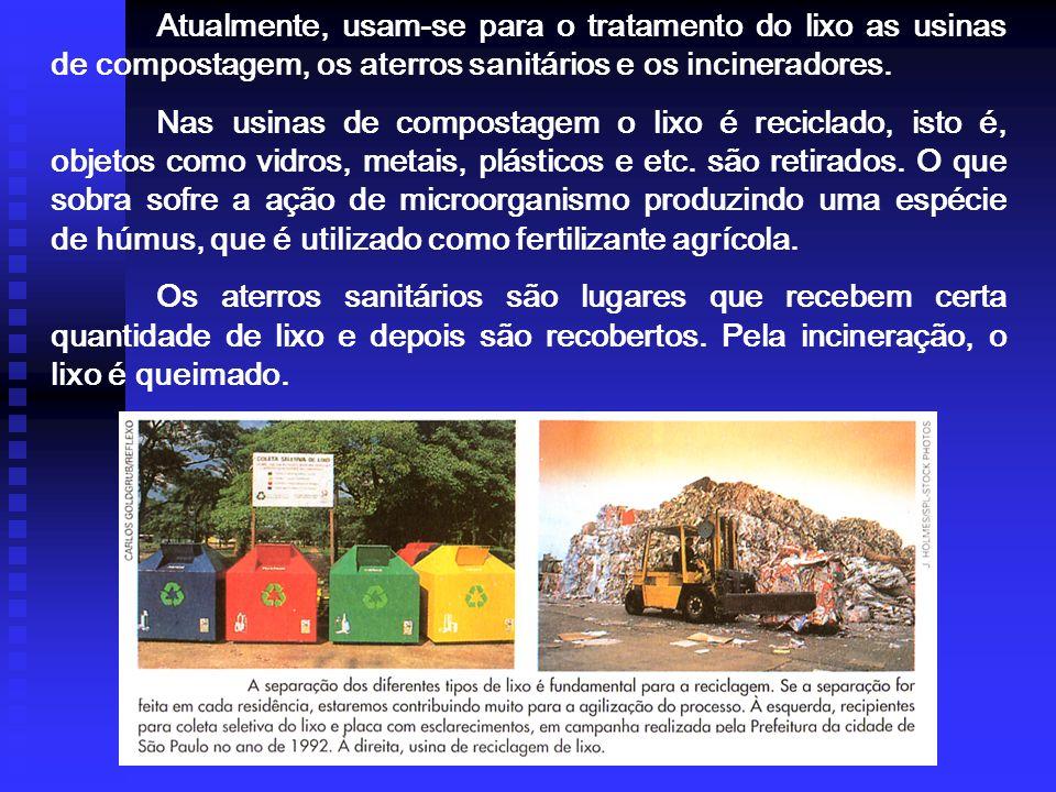 POLUIÇÃO DO SOLO, é principalmente provocada pelo lixo, além dos agrotóxicos. Estima-se em mais de 2 kg a quantidade diária produzida por pessoa, em m