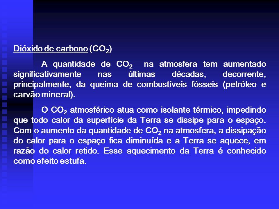 Dióxido de carbono (CO 2 ) A quantidade de CO 2 na atmosfera tem aumentado significativamente nas últimas décadas, decorrente, principalmente, da queima de combustíveis fósseis (petróleo e carvão mineral).