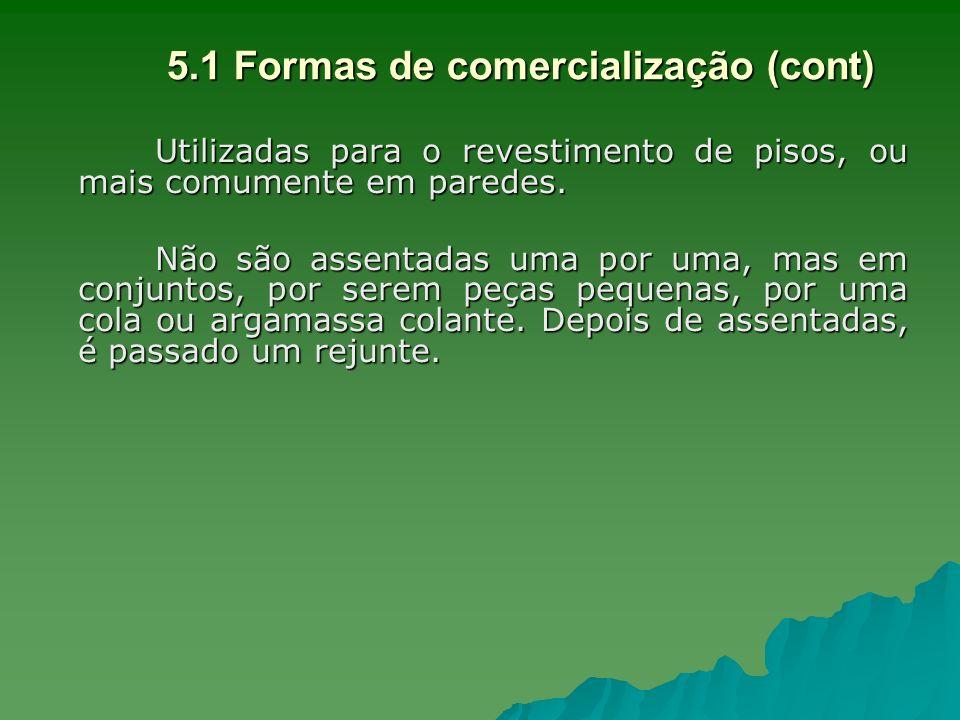 5.1 Formas de comercialização (cont) Utilizadas para o revestimento de pisos, ou mais comumente em paredes. Não são assentadas uma por uma, mas em con
