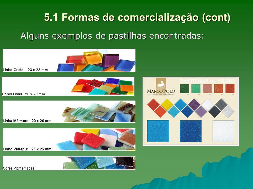5.1 Formas de comercialização (cont) Alguns exemplos de pastilhas encontradas: