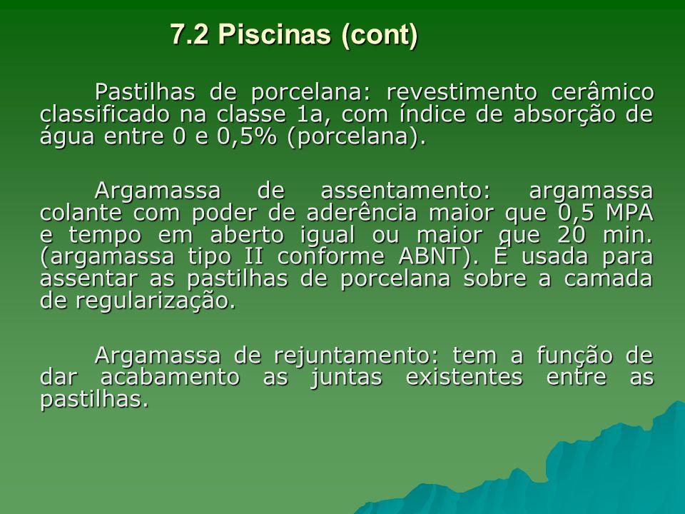 Pastilhas de porcelana: revestimento cerâmico classificado na classe 1a, com índice de absorção de água entre 0 e 0,5% (porcelana). Argamassa de assen
