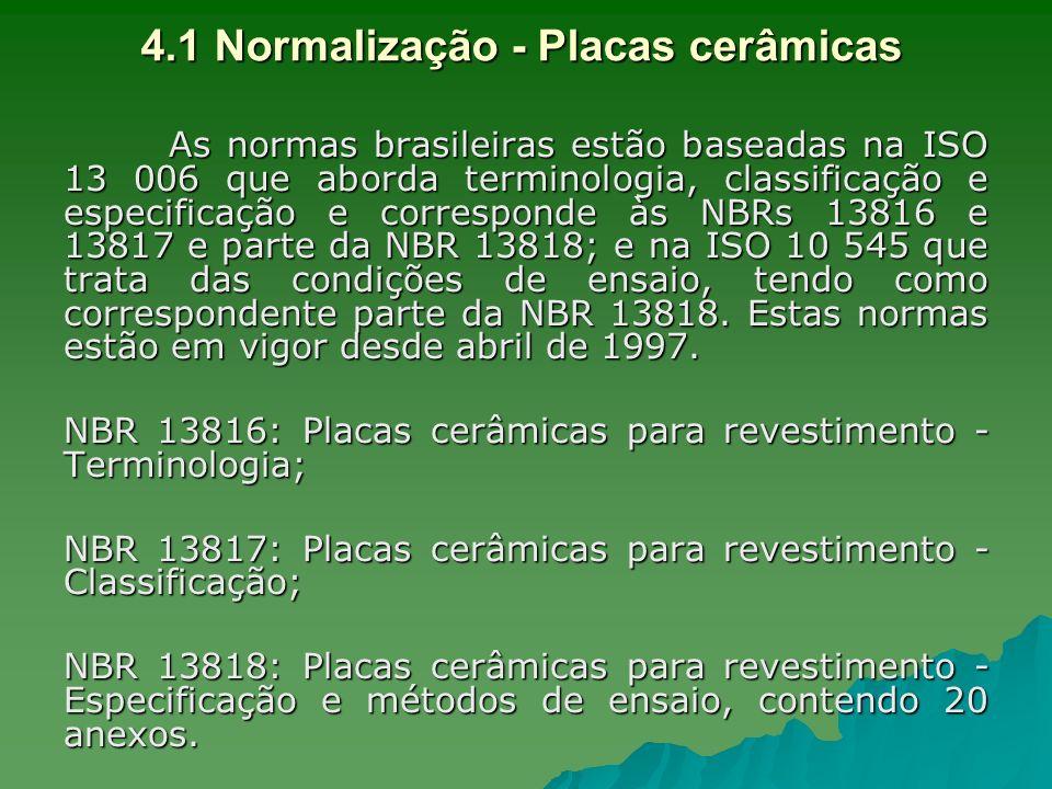 4.1 Normalização - Placas cerâmicas As normas brasileiras estão baseadas na ISO 13 006 que aborda terminologia, classificação e especificação e corres