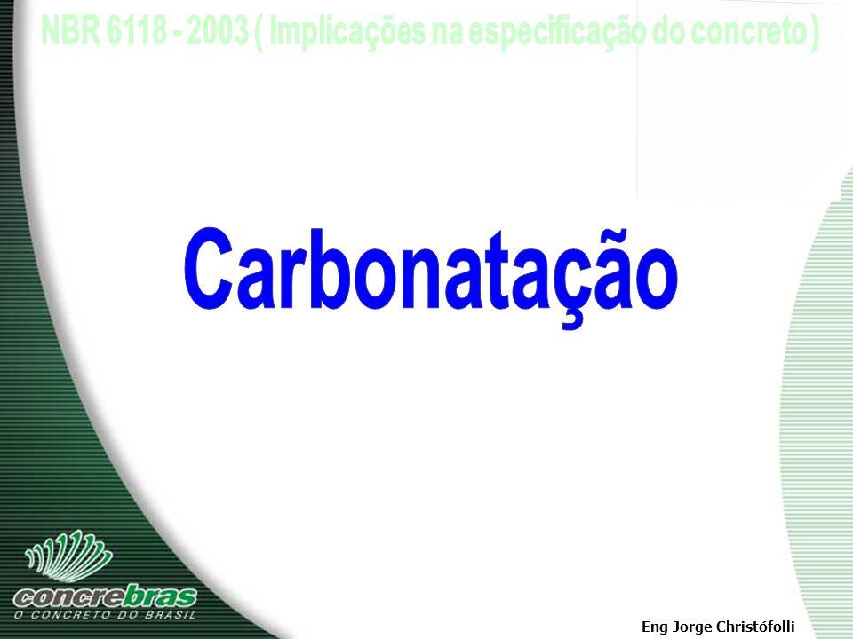Eng Jorge Christófolli 1 - Despassivação por Carbonatação - ação do gás carbônico da atmosfera que penetra por difusão e reage com os hidróxidos alcal