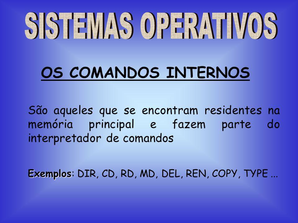 São aqueles que se encontram residentes na memória principal e fazem parte do interpretador de comandos OS COMANDOS INTERNOS Exemplos Exemplos: DIR, C