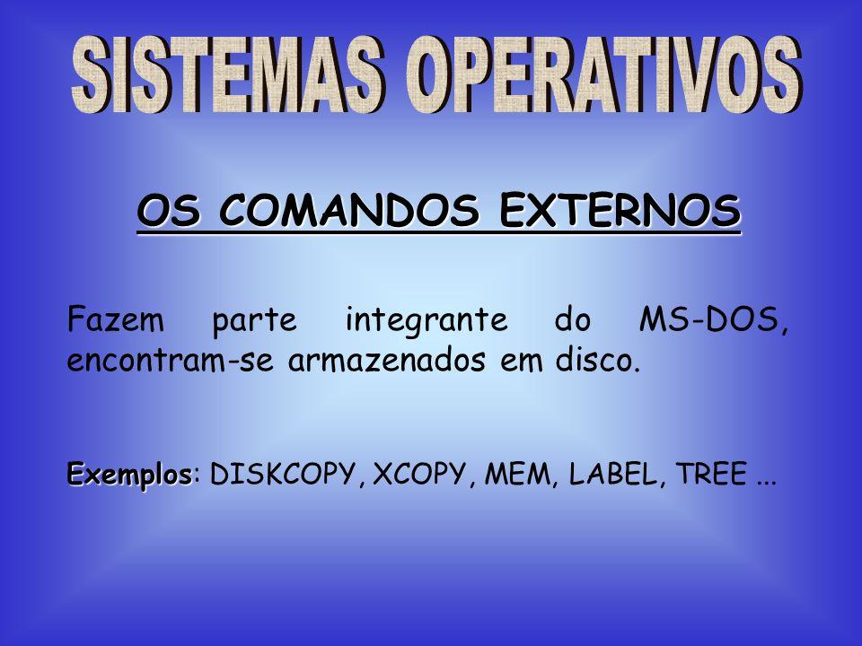 Fazem parte integrante do MS-DOS, encontram-se armazenados em disco. OS COMANDOS EXTERNOS Exemplos Exemplos: DISKCOPY, XCOPY, MEM, LABEL, TREE...
