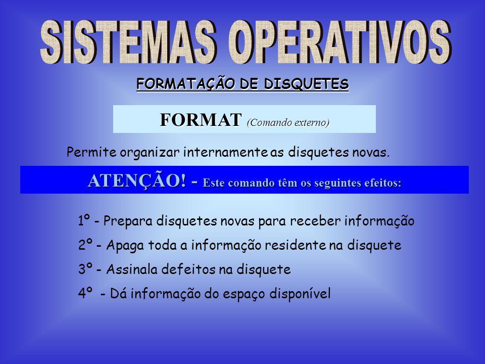 FORMAT (Comando externo) FORMATAÇÃO DE DISQUETES Permite organizar internamente as disquetes novas. ATENÇÃO! - Este comando têm os seguintes efeitos: