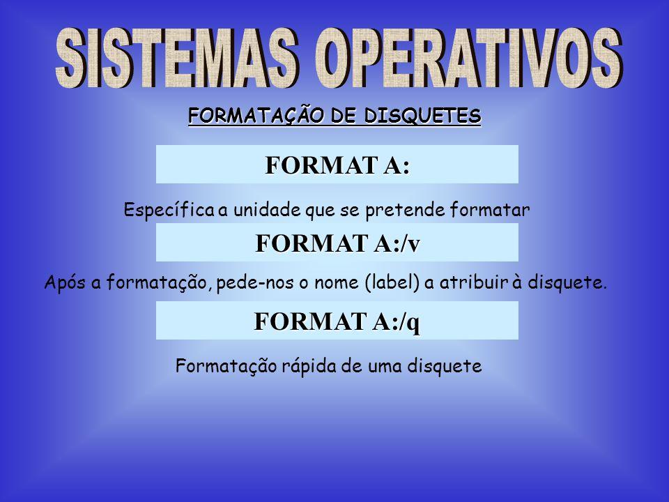FORMAT A: FORMATAÇÃO DE DISQUETES FORMAT A:/v FORMAT A:/q Específica a unidade que se pretende formatar Após a formatação, pede-nos o nome (label) a a