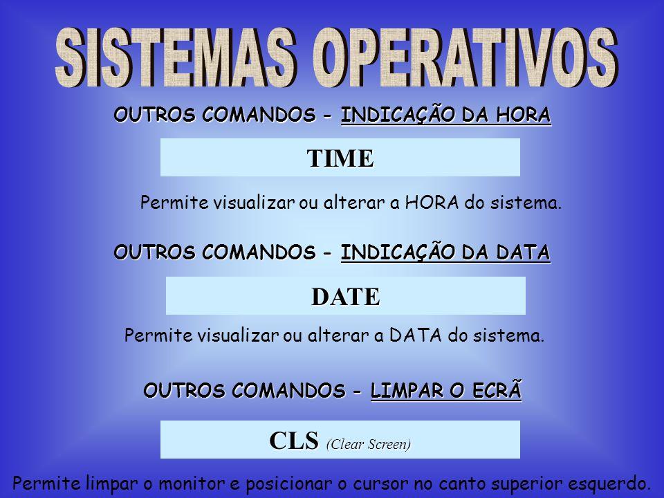 TIME Permite visualizar ou alterar a HORA do sistema. DATE OUTROS COMANDOS - INDICAÇÃO DA HORA OUTROS COMANDOS - INDICAÇÃO DA DATA Permite visualizar
