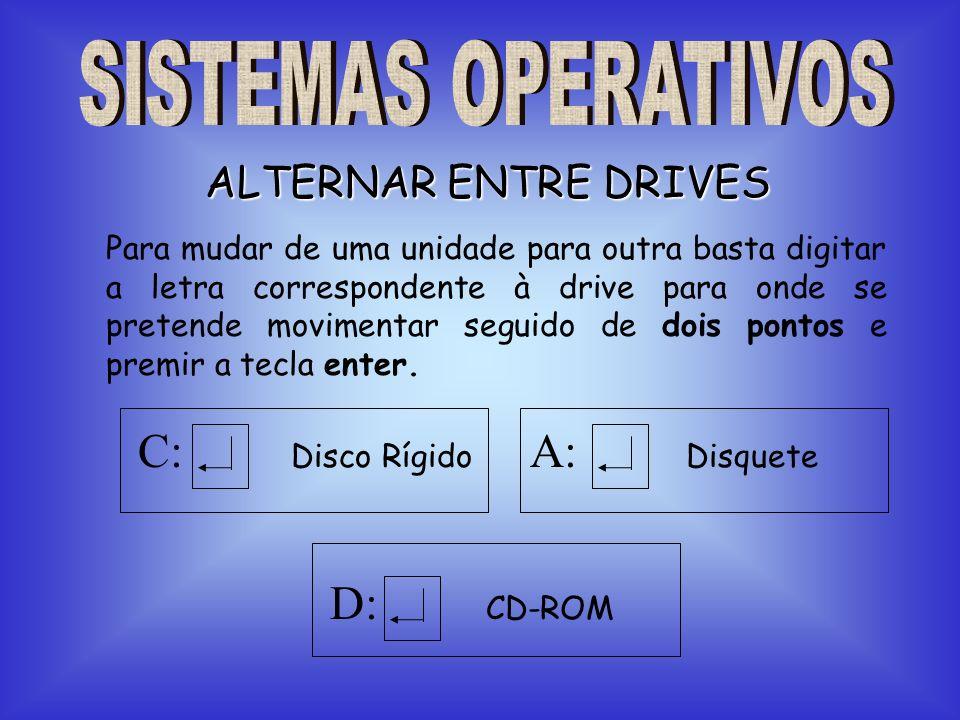 ALTERNAR ENTRE DRIVES Para mudar de uma unidade para outra basta digitar a letra correspondente à drive para onde se pretende movimentar seguido de do