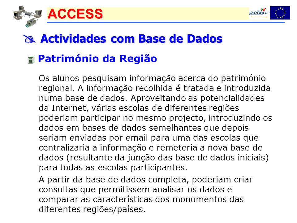 ACCESS Actividades com Base de Dados Actividades com Base de Dados Património da Região Os alunos pesquisam informação acerca do património regional.
