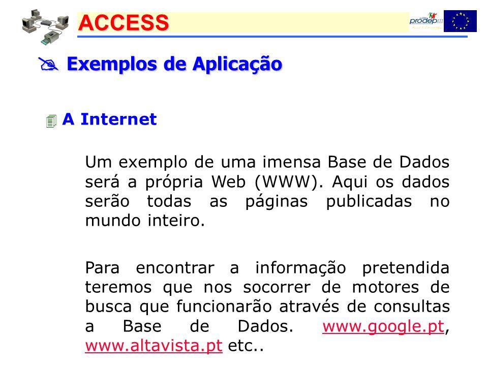 ACCESS Exemplos de Aplicação Exemplos de Aplicação A Internet Um exemplo de uma imensa Base de Dados será a própria Web (WWW). Aqui os dados serão tod