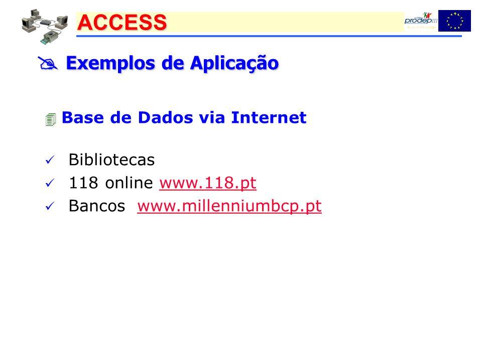 ACCESS Exemplos de Aplicação Exemplos de Aplicação Base de Dados via Internet Bibliotecas 118 online www.118.ptwww.118.pt Bancos www.millenniumbcp.ptw