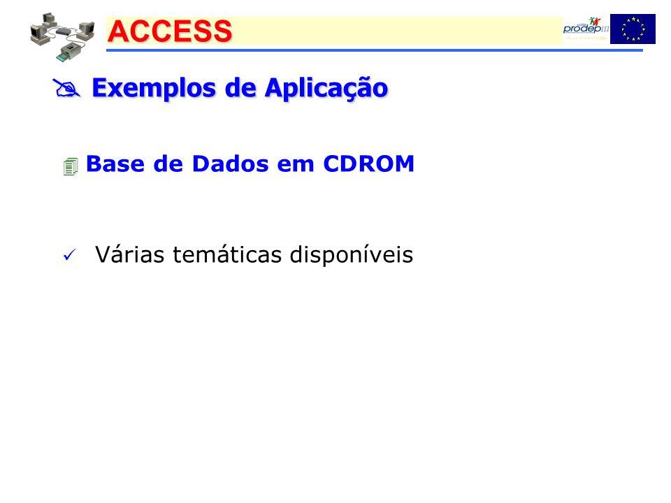 ACCESS Exemplos de Aplicação Exemplos de Aplicação Base de Dados em CDROM Várias temáticas disponíveis