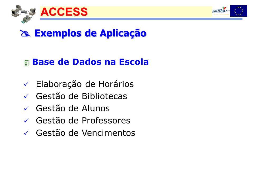 ACCESS Exemplos de Aplicação Exemplos de Aplicação Base de Dados na Escola Elaboração de Horários Gestão de Bibliotecas Gestão de Alunos Gestão de Pro