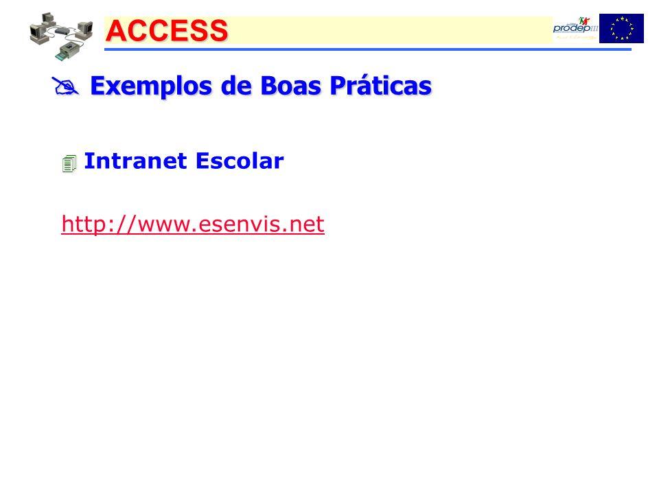 ACCESS Exemplos de Boas Práticas Exemplos de Boas Práticas Intranet Escolar http://www.esenvis.net