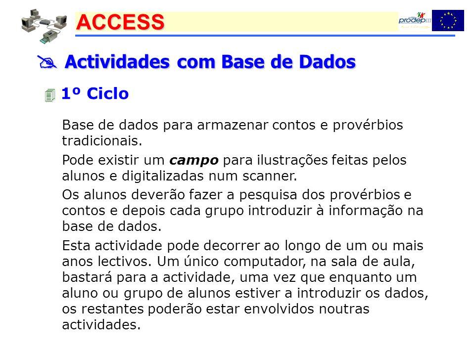 ACCESS Actividades com Base de Dados Actividades com Base de Dados 1º Ciclo Base de dados para armazenar contos e provérbios tradicionais. Pode existi