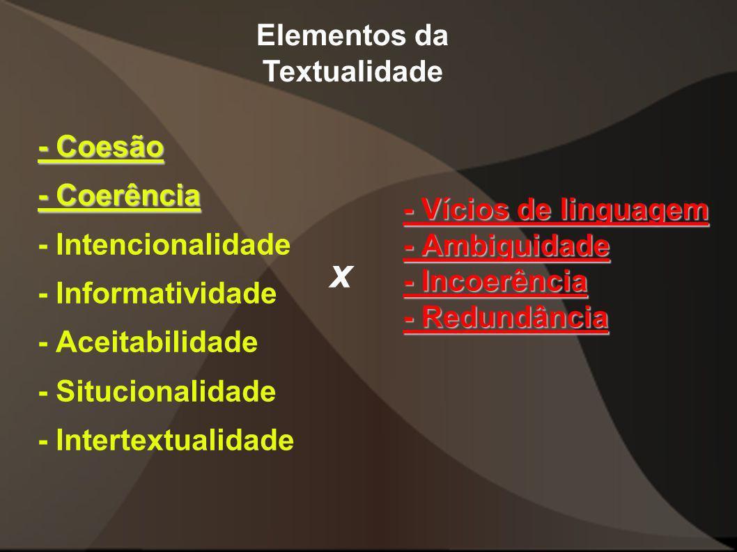 - Vícios de linguagem - Ambiguidade - Incoerência - Redundância - Coesão - Coerência - Intencionalidade - Informatividade - Aceitabilidade - Situciona