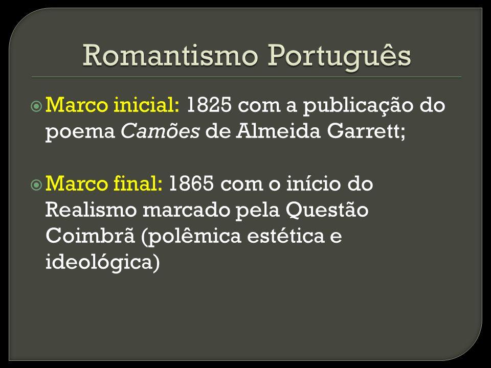 1820 – 1830 Apresenta características neoclássicas, nacionalismo, historicismo e medievalismo, além das características ideológicas envolvidas com a implantação do liberalismo.