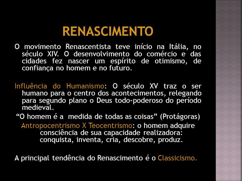 O movimento Renascentista teve início na Itália, no século XIV. O desenvolvimento do comércio e das cidades fez nascer um espírito de otimismo, de con