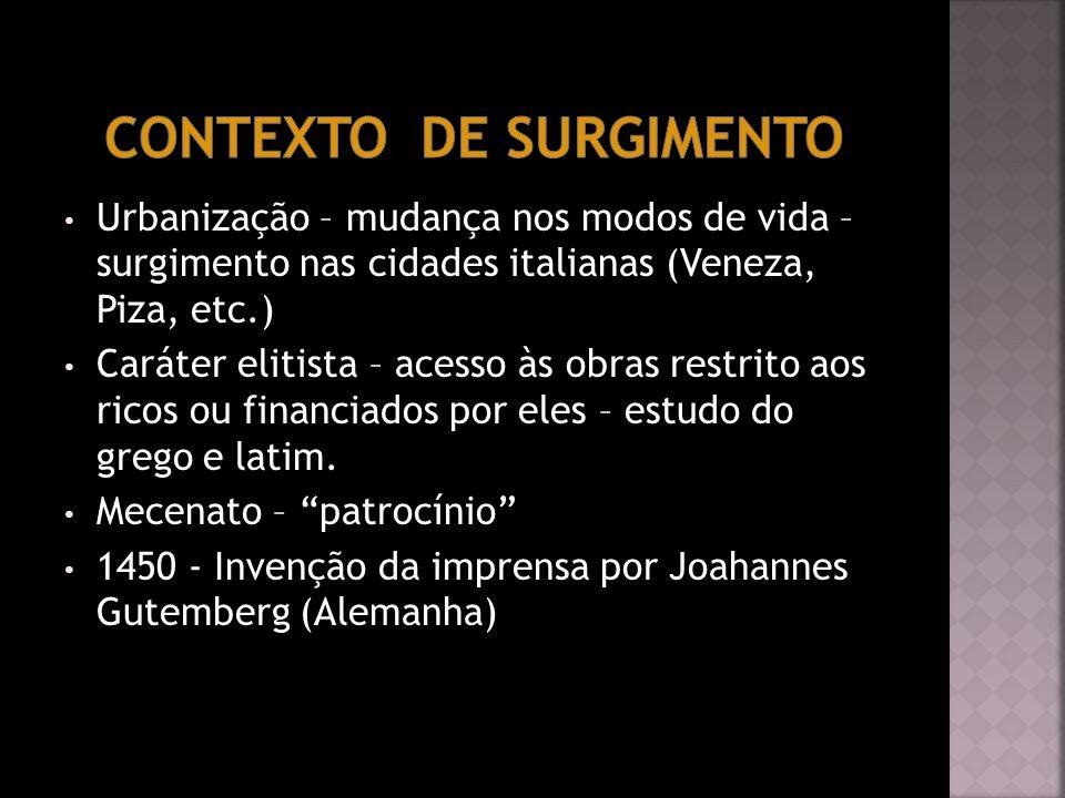 Urbanização – mudança nos modos de vida – surgimento nas cidades italianas (Veneza, Piza, etc.) Caráter elitista – acesso às obras restrito aos ricos