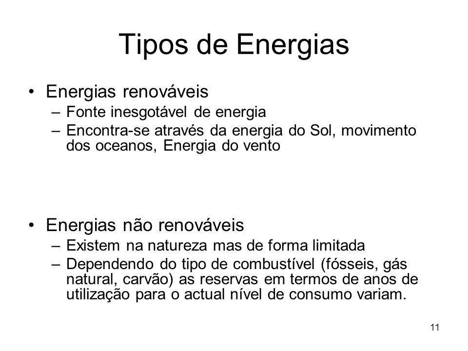 11 Tipos de Energias Energias renováveis –Fonte inesgotável de energia –Encontra-se através da energia do Sol, movimento dos oceanos, Energia do vento